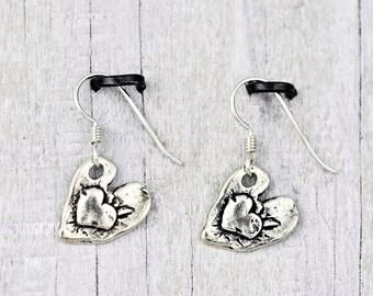 Bonded Heart Earrings - Romantic Jewelry - Heart Jewelry - E803
