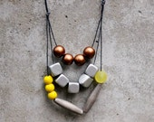 Contemporary geometric statement necklace, yellow, silver, bronze, grey, wooden bead, boho, free shipping.