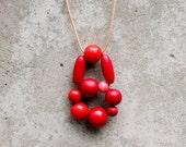 Red wooden bead pendant, woven bead pendant, contemporary pendant, minimalist pendant, gifts under 30.