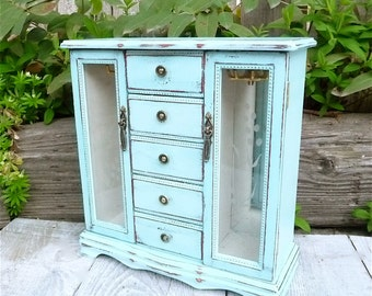 Light Pastel Aqua SHABBY CHIC Jewelry Box Armoire - Made to Order