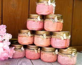 PINK Shabby Chic Jar Candles - Set of Ten (10) Painted Mason Jar Candles - Assorted Pinks