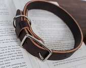 Leather Dog Collar in Dark Brown with Brass