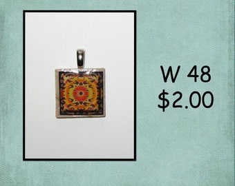 Abstract Graphic - Wood Tile Pendant - W 48, 59, 66, 71, 75