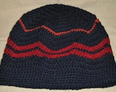 Ladies Crocheted Ripple Zig Zag Slouchy Beanie Hat