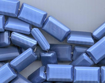 One strand of 25 gorgeous vintage Japanese lucite beads - blue with beautiful satin sheen - 26 x 18 mm flat rectangles