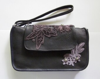 Studded Black Leather Clutch with Black & White Lining and Plum and Mauve Lace Applique