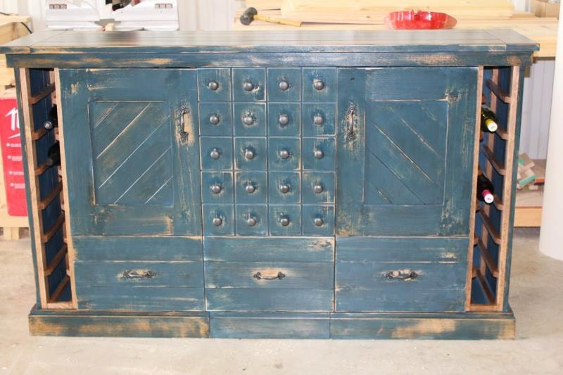 Distressed Liquor Cabinet with Wine by ColeTrainProductions