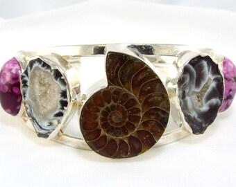Ammonite Big Rare Gems Cuff, Druzy & Pink Charoite Silver Bracelet, Colorful Big N Bold Gemstone Cuff, 5 Stone Free Form Gems Cuff Bracelet