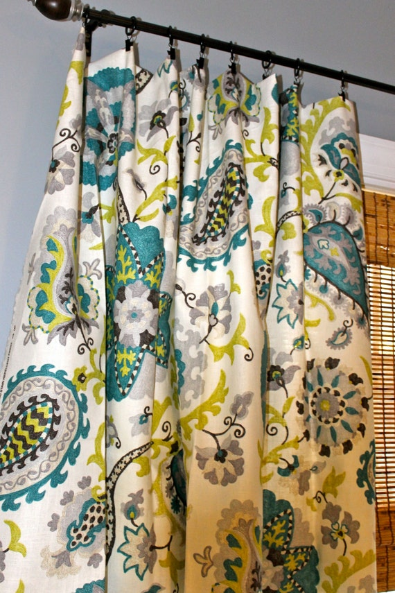 Peacock Blue Chartreuse Brown And Ivory Floral By Stitchandbrush