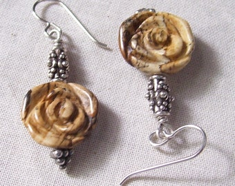 Picture Jasper Carved Rose Earrings with Bali Sterling Silver