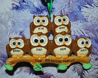 Personalized Family of 6 Owl Ornament