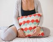 Mint Red Green Yellow Pillow Cover, Scallop Pattern Pillow, Throw Pillow, Nursery Room Pillow, 16x16 Pillow Decorative, Kids Room Decor