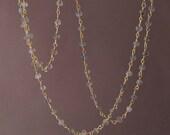 Long or Short Gray Labradorite Stone Gold Beaded Necklace