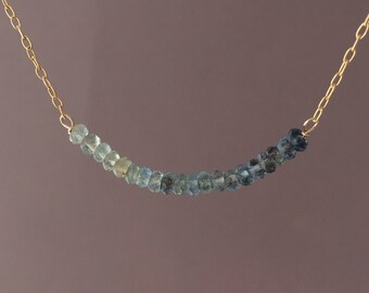 Gray Green Moss Aquamarine Ombre Beaded Necklace Gold, Rose Gold,  or Silver