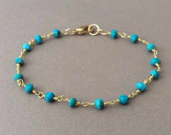 Gold Turquoise Wire Wrapped Beaded Bracelet