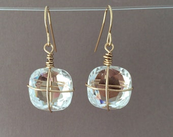 Clear Swarovski Crystal Earrings Gold or Silver