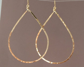 Oversized Gold Hammered Teardrop Hoop Earrings