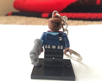 Handmade Nick Fury Minifigure Keychain