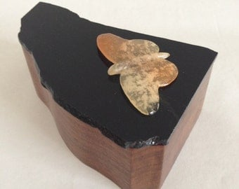 Wooden Box with Stone Lid - Glossy Black Stone with Orange Butterfly