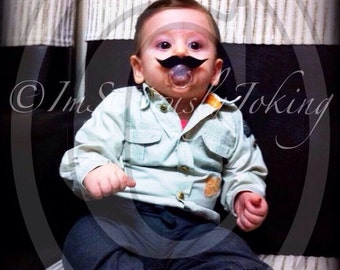 Mustache Pacifier-Baby Mustache-Little Man Party-Baby Shower gift-Mustache Party-Baby Boy-The Wise Guy-Little Man-Baby Boy-Mustache Pacifier
