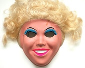 Halloween Mask Tan Lady, 1980s Retro Halloween Costume, Scary Mask, Made in Hong Kong, Adult Party Mask, Retro Mask, Tan Lady