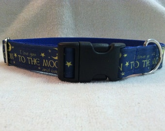 I Love You To The Moon Custom Dog Collar