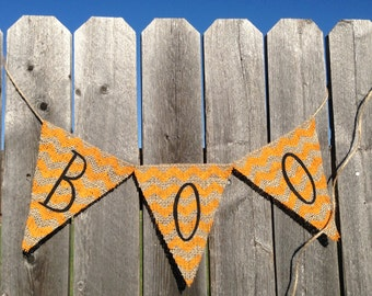 BOO BANNER / HALLOWEEN Decoration / Bunting / Halloween Party Decor