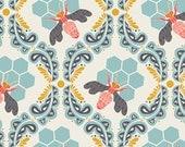 Bee Sweet in Morning (Honey Bees in Aqua Blue) - SAH-1602 - Sweet as Honey by Bonnie Christine for Art Gallery Fabrics - 1/2 yard