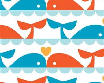 Whale Love (Whales Tails)  - Marine Too by Dan Stiles for Birch Organic Fabrics - 1/2 Yard