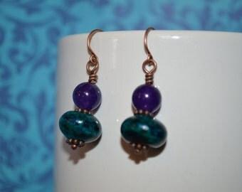 Blue-green azurite and purple jade dangle earrings