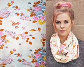 sale INFINITY SCARF vintage fabric floral pattern pink orange rust yellow blue cream retro light weight cowl gift christmas