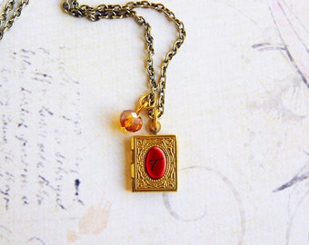 Tiny initial and birthstone book locket necklace, wedding or bridesmaid jewelry, booklover gift