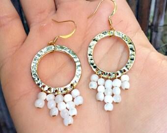 Sabrina - Mother Of Pearl & Gold Hoop Earrings