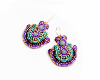 Handmade Soutache earrings  - elegant, classy and unusual Soutache Jewelry - Jewel of the Percia 2
