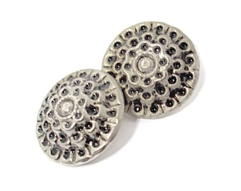 Vintage Buttons Silver (2) 1950s