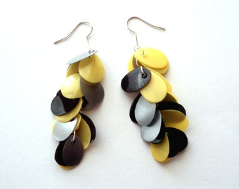 Black yellow earrings made of recycled plastic contemporary earrings upcycled jewelry very long earrings sustainable jewelry tricolor