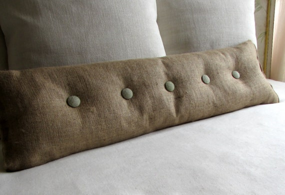 36 Inch Burlap With Sage Burlap Buttons Sofa Or Long Bed