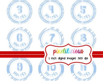 Instant Download - 12 Months for Boys - Brand New Baby - 1 Inch Digital Collage for Buttons and Bottle Caps - Buy 2 Get 1 Free