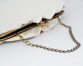 Clutch - Vintage 1960s White handbag with ruffle detail