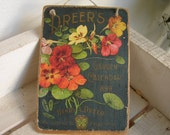 1899 garden calender,advertising image applied to natural wooden tag/dresser/door hanger