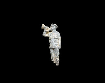Antique Lead Figurine, Archaeological Find, WW 1 Soldier, Bugle Horn Player, 'Last Post' Curio, English Lead Toy, Curiosity Cabinet
