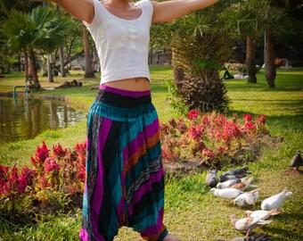 Harem pants, Cotton, Wide Blue, Turquoise & Purple Stripes
