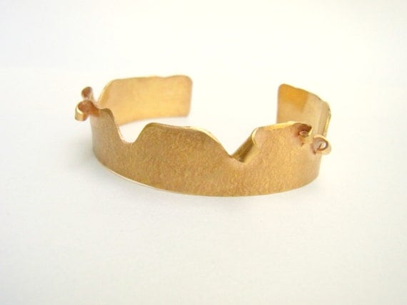 Gold Plated Cuff Bracelet - Handmade, nature inspired jewelry
