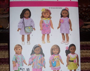 American Girl Doll Clothing Patterns...Simplicity #1713...18 Inch Doll Patterns...Very Cute....Dresses...Skirts...Tops.....Pants...
