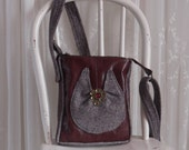Small Leather Purse Brown Tweed Bag Cross Body Bag Again