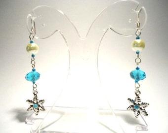 Turquoise and Pearl Crystal Snowflake Dropper Dangle Pierced Earrings by JulieDeeleyJewellery on Etsy