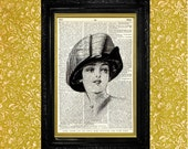 Edwardian Woman in Hat with Large Bow Illustration Dictionary Page Art Print Book Page Art Print Upcycled Art
