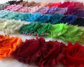 1 Yd. Shabby Flower Trim, You Pick Color, Fraying Rosettes, Shabby Chiffon Roses