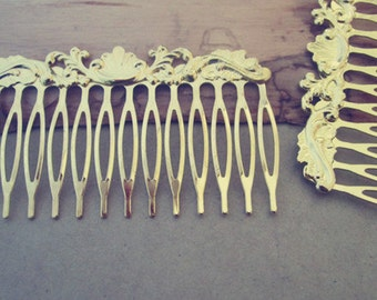 4Pcs 40mmx75mm (14teeth) Gold color Hair Combs accessories