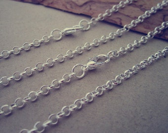 100pcs 65cm  Silver color round shape Link chain 3mmx3mm With Lobster Clasp